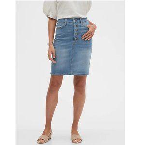 Banana Republic BAS Button-Front Denim Skirt 16